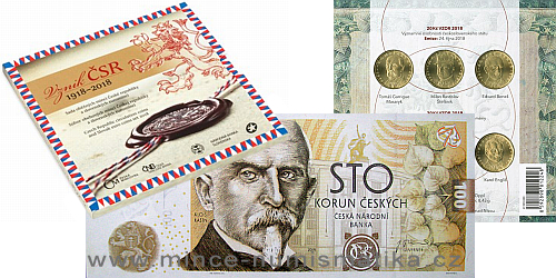 INVESTIČNÍ SET 3: Pamětní 100 Kč bankovka 2019, Sada Vznik ČSR 2018, Sada 20 Kč mincí 2018-2019