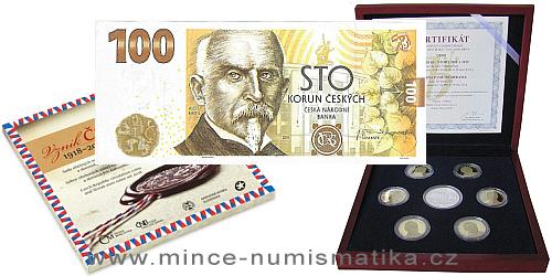 INVESTIČNÍ SET: Sada 20 korun 2018+2019 Proof, Pamětní 100 Kč bankovka 2019, Sada Vznik ČSR 2018