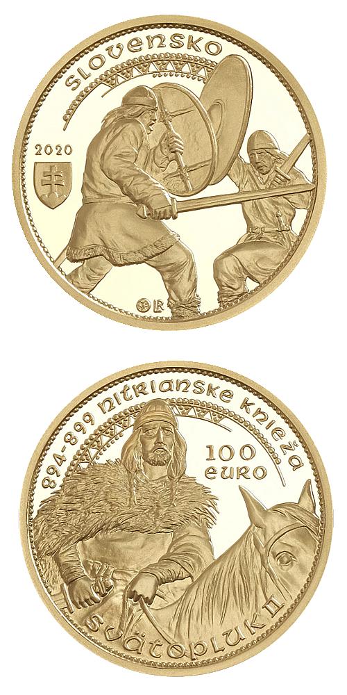 2020_100_Euro_Au_knize_Svatopluk_II._mince