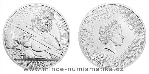 Stříbrná mince Bohové světa - Zeus
