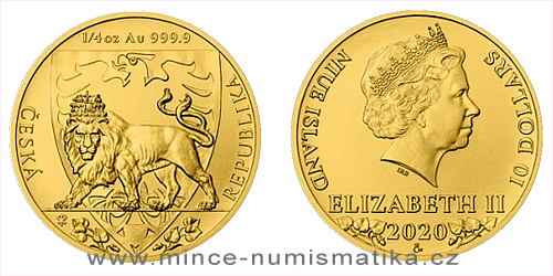 Zlatá 1/4 Oz investiční mince Český lev 2020