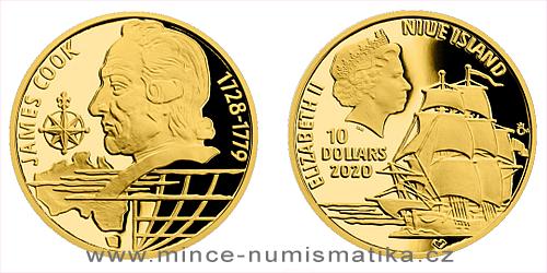Zlatá čtvrtuncová mince Na vlnách - James Cook