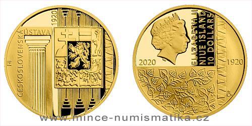 Zlatá mince Rok 1920 - První československá ústava