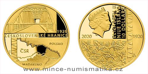 Zlatá mince Rok 1920 - Československé hranice