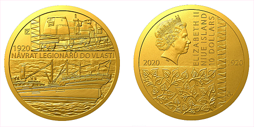 Zlatá mince Rok 1920 - Návrat legionářů do vlasti