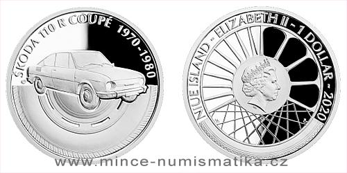 Stříbrná mince Na kolech - Osobní automobil Škoda 110 R coupé