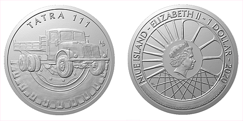 Stříbrná mince Na kolech - Nákladní automobil Tatra 111