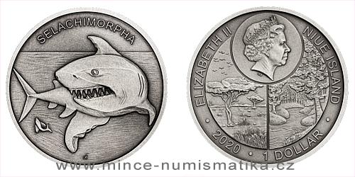 Stříbrná mince Zvířecí rekordmani - Žralok