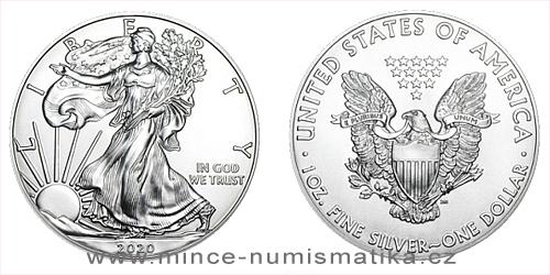 Stříbrná uncová mince American Eagle 2020 - 20 kusů (original balení v tubě)