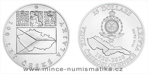 Stříbrná desetiuncová mince Česká vlajka