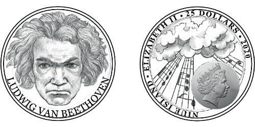 Zlatá půluncová mince Ludwig van Beethoven