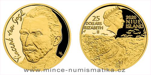 Zlatá půluncová mince Vincent van Gogh