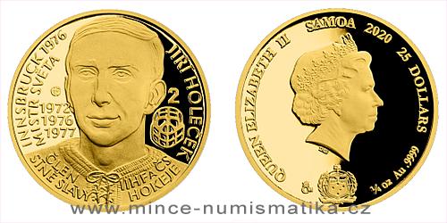 Zlatá čtvrtuncová mince Legendy čs. hokeje - Jiří Holeček
