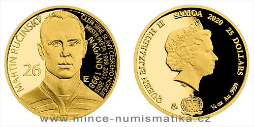 Zlatá čtvrtuncová mince Legendy čs. hokeje - Martin Ručínský