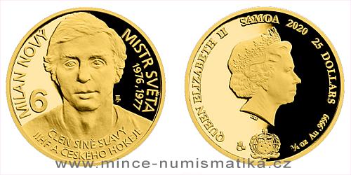 Zlatá čtvrtuncová mince Legendy čs. hokeje - Milan Nový