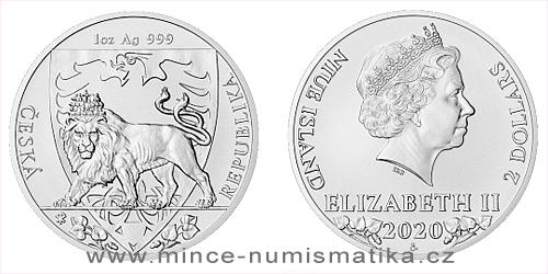 Stříbrná uncová investiční mince Český lev 2020 - 25 kusů original balení