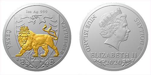 Stříbrná uncová investiční mince Český lev 2020 selekt. pokov proof číslovaný obal