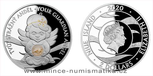 Stříbrná mince Crystal Coin - Anděl strážný - Betlémské světlo