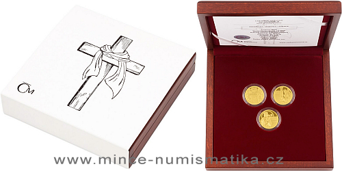 Sada tří zlatých mincí sv. Ludmila