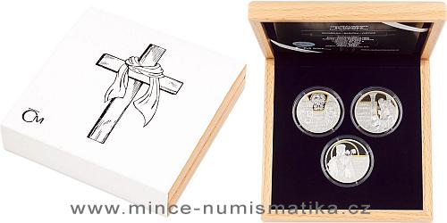 Sada tří stříbrných mincí sv. Ludmila