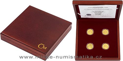 Sada čtyř zlatých mincí Katedrála Notre-Dame v Paříži