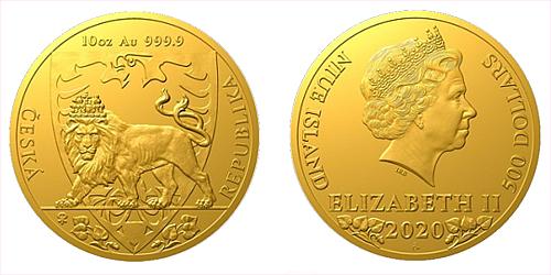 Zlatá desetiuncová investiční mince Český lev 2020
