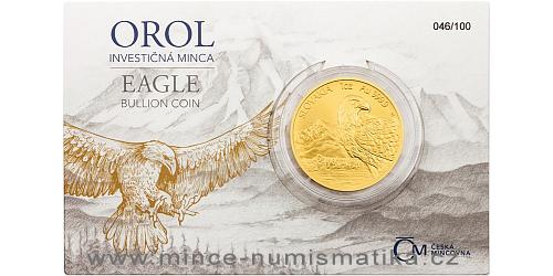 Zlatá uncová investiční mince Orel 2020 číslovaný obal