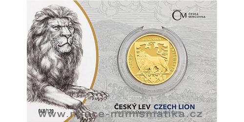 Zlatá uncová investiční mince Český lev 2020 proof číslovaný obal