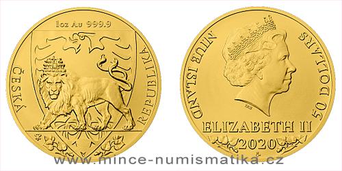 Zlatá uncová investiční mince Český lev 2020