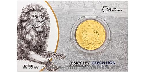 Zlatá uncová investiční mince Český lev 2020 číslovaný obal