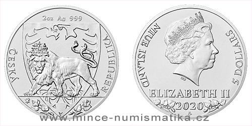 Stříbrná dvouuncová investiční mince Český lev 2020