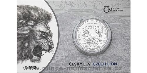 Stříbrná dvouuncová investiční mince Český lev 2020 číslovaný obal