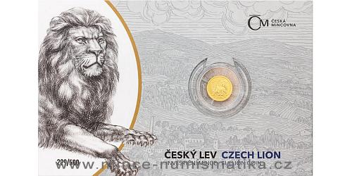 Zlatá 1/25 Oz investiční mince Český lev 2020 číslovaný obal