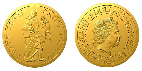 Zlatá mince Patroni - Svatý Josef