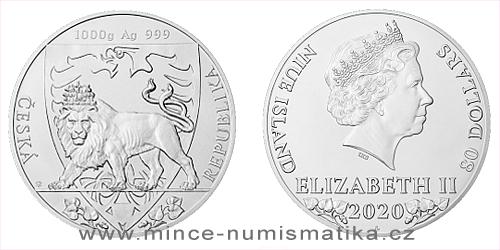 Stříbrná kilogramová investiční mince Český lev 2020