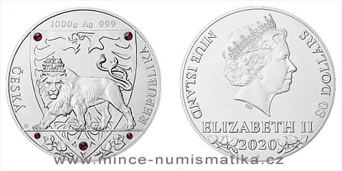 Stříbrná kilogramová mince Český lev 2020 s českým granátem - RARITA
