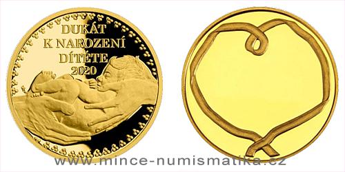 Zlatý dukát k narození dítěte 2020 s věnováním