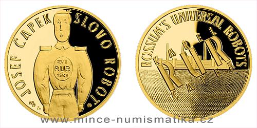 Zlatá uncová medaile Příběhy naší historie - RUR a slovo Robot