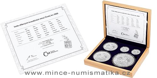 Sada stříbrných mincí Český Lev 2020 - 1oz, 2 oz, 5 oz, 10 oz, 1 kg