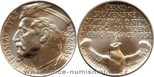1932 / 2020 - mosazná medaile 100. Výročí narození Miroslava Tyrše