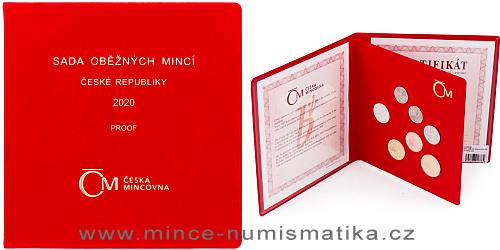 Sada oběžných mincí ČR 2020 - PROOF (semišový obal)