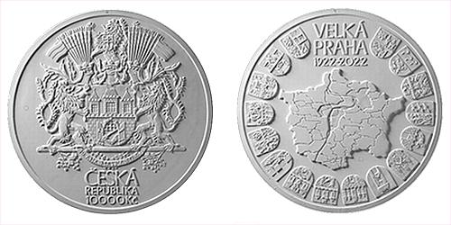 10.000 Kč - 100. výročí Založení Velké Prahy