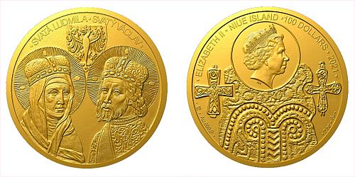Zlatá dvouuncová mince Sv. Ludmila a sv. Václav
