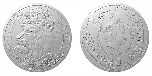 Stříbrná pětiuncová investiční mince Český lev 2021