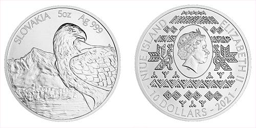 Stříbrná pětiuncová investiční mince Orel 2021