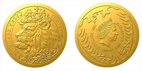 Zlatá 1/4 Oz investiční mince Český lev 2021