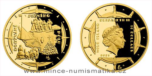 Zlatá čtvrtuncová mince Polárníci - Dobytí jižního pólu