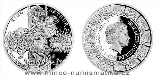Stříbrná mince Legenda o králi Artušovi - Artuš a Mordred