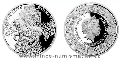 Stříbrná mince Legenda o králi Artušovi - Ginevra a Lancelot
