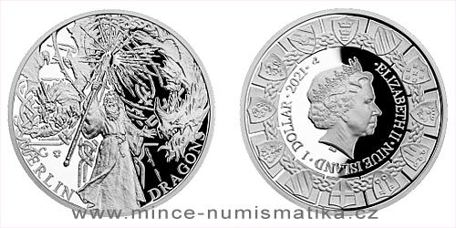 Stříbrná mince Legenda o králi Artušovi - Merlin a draci